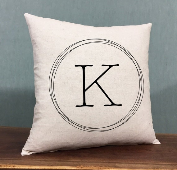 Monogrammed Home Decor Pillow Personalized Housewarming Gift