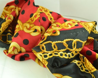 """Vintage Echo 100% Silk Scarf Red, Black & Gold Scarf Made in Japan 34"""" x 34"""" Square Scarf Birthday or Anniversary Gifts for Women"""