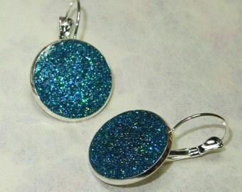 Blue Earrings, Glitter & Resin, Leverback, (matching items available in my shop)