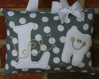Tooth Fairy Pillow for Girls Personalized Boutique Custom Made Polka Dots