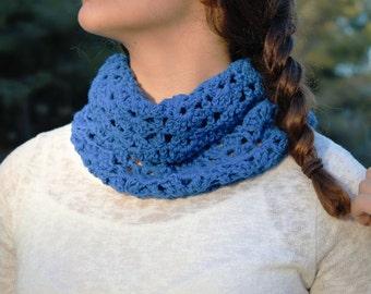 30% OFF Crochet Wool Scarf. Crochet Neck Warmer. Stylish crochet Scarf. Blue Crochet Neck Warmer