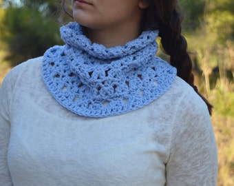 Blue Crochet Wool Scarf. Neck Warmer. Stylish crochet Scarf. Blue crochet Neck Warmer