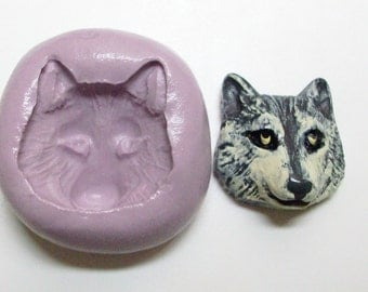 Wolf head Mold #91 - silicone mold, craft mold, porcelain mold, jewelry mold, food mold, resin mold, clays mold, flexible mold