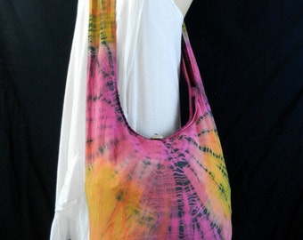 Classic Tie Dye Bag Purse Hobo Hippie Boho Sling Crossbody Messenger Book Bag Top Zip OAK Top Zip UC31