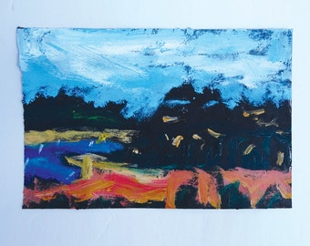 Vintage Small Landscape Oil Painting By Infamous Art Dealer Lawrence Salander - Signed, Dated 1995 and Titled St. Thomas