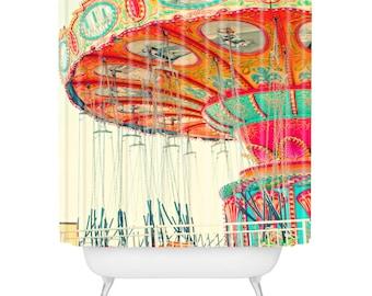 Shower Curtain. Bathroom Art.  Carnival Swings. Fun. Bright. Colorful. Orange Yellow. Pink. Aqua. Santa Cruz Beach Boardwalk. Kid's Bathroom