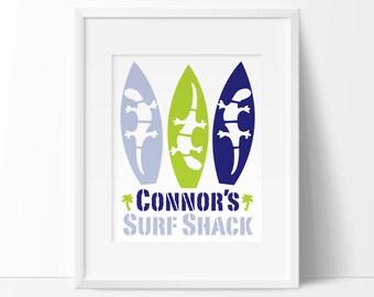 surf nursery, personalized baby gifts, surfboard nursery, kids printable, surf nursery decor, personalized nursery art, printable wall art