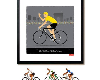 MENS PERSONALISED Yellow Jersey Tour de France Art Print: Customisable Name, Race Number, Hair, Eye and Bike Colour