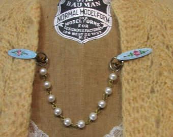 Vintage 1950s Sweater Clip Blue Enamel Roses Pearl Chain Vintage 50s Rockabilly  Soc Hop  Coed Jewelry Fashions