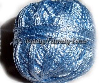 Viscose silk yarn Satin. Summer yarn, sky blue, baby blue color (03). Silk yarn, hypoallergenic vegan yarn, lace crochet summer knit DSH(P1)