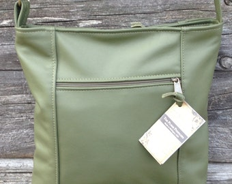 Leather crossbody purse, lg. Emily style, Olive color leather, travel bag, adjustable strap shoulder bag, made in the USA, cross body bag
