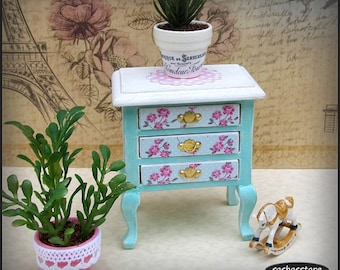 Miniature dollhouse shabby chic sideboard table 1:12 scale furniture, shabby miniature