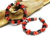 Long hoop earrings made of glass beads and coral. Red & black earrings. Hoops