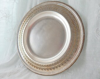 Vintage Silver Plate, Round Silver Plate with Ornate Edge