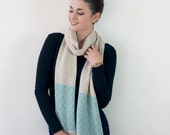 Linen and seafoam knitted fair isle scarf - handmade in Britain from lambswool