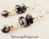 Snowflake Obsidian Earrings, Black and Gray Earrings, Black Stone Jewelry, Natural Stone Earrings