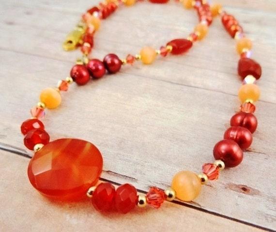 Carnelian, Peach Fiber Optic, Pearl and Swarovski Crystal Necklace