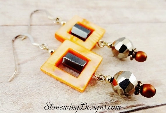 Orange Earrings, Square Earrings, Hematite Earrings, Squares, Orange and Gray Jewelry, Eclectic Jewelry, Mother of Pearl Square earrings