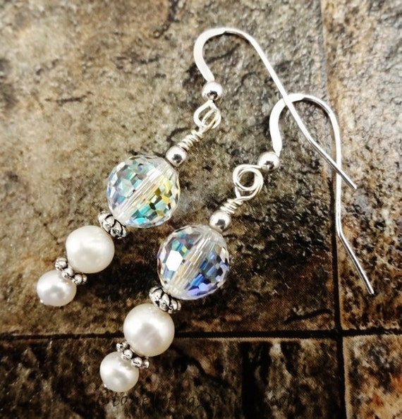 Pearl & Crystal Earrings, Swarovski and Pearl Earrings, Bridal Jewelry, Wedding Earrings, Crystal and Pearl Jewelry, White Earrings