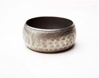 Vintage Hammered Bangle Bracelet Silver Wide SECRET HEART