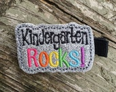 Kindergarten Rocks Back to School Silver Glitter Felt Hair Clip Clippie Babies Toddlers Girls