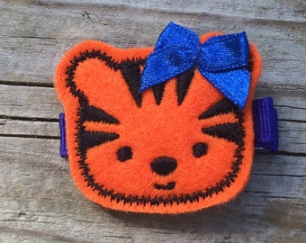 Orange Royal Blue Felt TIGER Hair Clip Babies Toddlers Girls