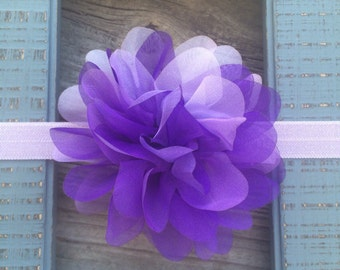 Chiffon Purple and Lavender Flower Headband Babies, Toddlers, Girls