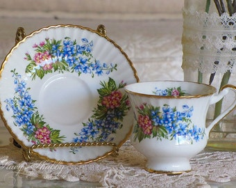 Stunning Blue Floral TEACUP And SAUCER, PARAGON, England, Bone China, Shabby Chic