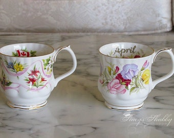 Two ROYAL ALBERT Floral Porcelain MUGS, Teacups, Flowers, Canada