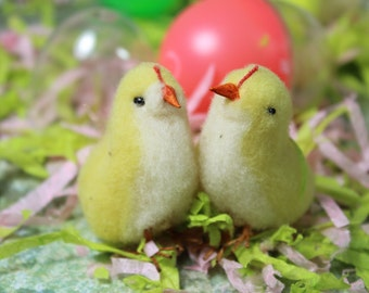 1 Vintage Felted Chick in an Egg
