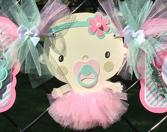 Tutu baby shower banner, tutu banner, ballerina baby shower, ballerina banner, tutu decoration, pink and mint decor, it's a girl banner