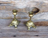 Brass Turtle Candle Holders 2 Solid Brass Tortoise Candle Stands 1970s Nautical Beach Decor Woodland Reptiles Small Turltle Candle Holders