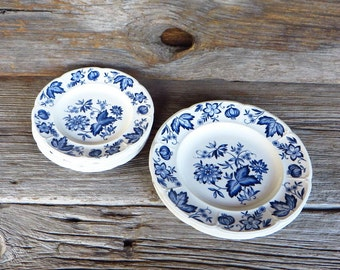 Blue Onion Blue and White Plates Bread and Butter, Dessert, Salad Plates 8 Johnson Brothers England Farmhouse Kitchen Cottage Chic China
