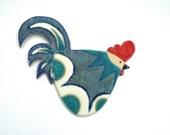 Pottery Chicken Cockerel Wall Plaque stoneware ceramic  turquoise and speckled blue