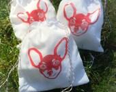 "NEW! Chiahuhua Dog Muslin Favor Bag, Stamped Muslin, Party Favor Fabric Bag 5""x 6"""