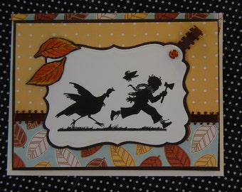 Chasing Turkey Thanksgiving Note Card and Coordinating Envelope