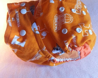 SassyCloth one size pocket diaper with Un of Tennessee Vols cotton print. Ready to ship.