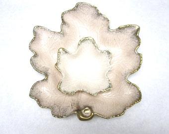 Maple Leaf Dish Large Serving Set Bowl Tray Beige Pink Platter California Pottery Signed Numbered