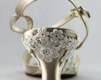 Champagne Wedding wedge -- Low wedge heels Size 9 Sale