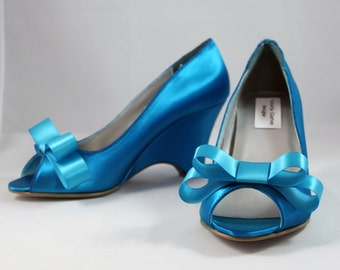 Blue Bow Wedding Wedges - Size 8 Sale