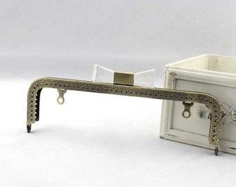 20.5cm(8.07inch) candy beads antique bronze sewing metal purse bag frame A383-transparent