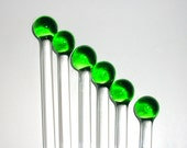 "8"" long  Set of 6 glass stir/swizzel sticks---Hand Crafted"