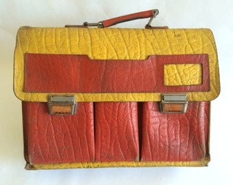Vintage Red and Yellow Rustic Leather School Satchel Briefcase