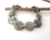 Bracelet Beach Stone Jewelry River Rock Mediterranean Beach Pebble Jewelry Sea Rock River Stone Jewelry Beach Pebble Silver Bracelet BOUNTY