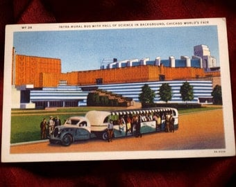 World's Fair Postcard 1933 Intra Mural Bus Hall Of Science Chicago Max Rigot WF 36 C T Art Colortone Industrial Transportation Modern Future