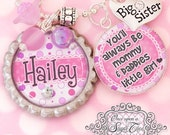 Big Sister Necklace- Personalized-Pregnancy Announcement-Pregnancy Reveal- Little Girls Jewelry-Pink Purple Necklace-Quote Necklace-Keepsake