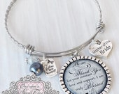 WEDDING GIFTS for Parents - Mother of the Bride Bracelet - Personalized BANGLE Bracelet - Gift from Bride - Wedding Gifts for Mother in law