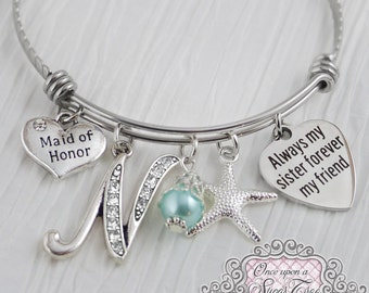 Sister Maid of Honor Gift - Initial Bracelet,Wedding Bridesmaid Jewelry-Expandable Bangle -Gift from Bride,Bridal Party Jewelry -Keepsake