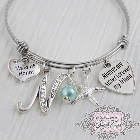 Sister Maid Of Honor Gift Initial BraceletWedding