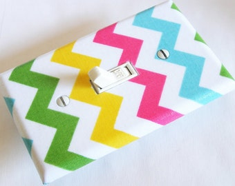 MULTI COLOR CHEVRON Light Switch Cover Plate Switchplate Nursery Decor
